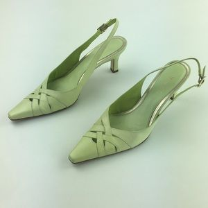 "Green Leather Heels Square Toe Slingback 2.5"" heel"